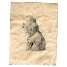 19th century Vintage Pencil Drawing - Abbot, Vicar Portrait 1822
