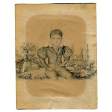 19th century Vintage Pencil Drawing - Portrait of a Young Boy