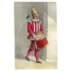 19th century Vintage Drawing - Old Masters - Swiss Guard - Vatican City