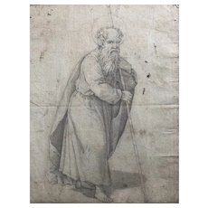 18th century Old Vintage Drawing - Dessin Ancien - Religious Man