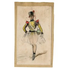 Antique Vintage Watercolor Drawing - Woman in Uniform, Erotica