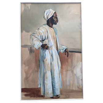 Original Watercolor Drawing - Black Man with African Clothes, monogrammed 1896