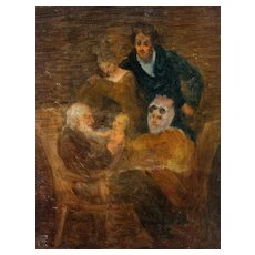 Original Oil Painting 19 century - Family Portrait