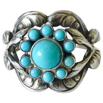 Vintage Georg Jensen Turquoise Denmark 925 Sterling Silver Ring #10 Moonlight Blossom sz10