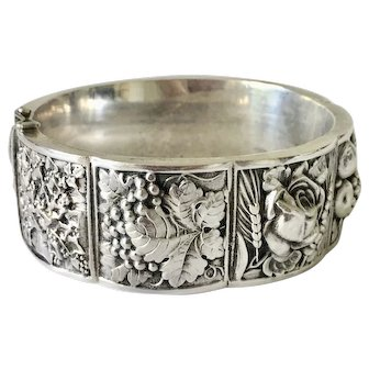Arts and Crafts Era European Repousse Silver Bangle Harvest Theme Deeply Embossed Fruits Flowers Wheat