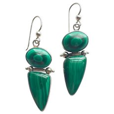 Malachite and silver artist made statement earrings signed exclusive design boho chic