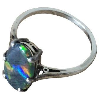 Vintage Natural Black Opal 1.44ctw White 14k Gold Ring