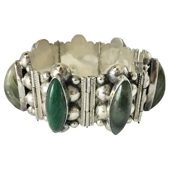Vintage Sterling and Mexican Jadite Cabochon Massive Panel Bracelet Boho Mexico Southwest Statement Jewelry