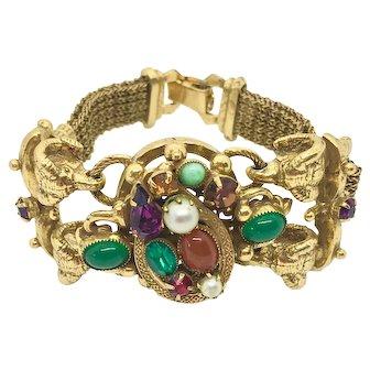 1950 Jeweled Victorian Style Revival Rams Head Costume Statement Bracelet