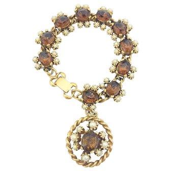 Vintage c1950 KAFIN New York Signed  Costume Charm Bracelet
