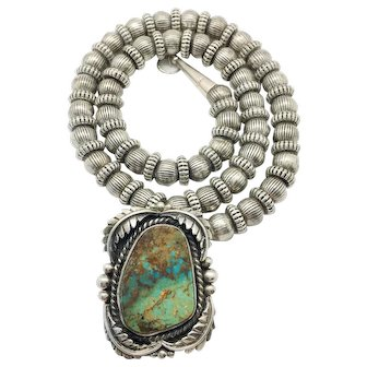 Vintage Old Pawn Southwest Turquoise & Sterling Pendant Necklace