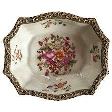 Vintage famille Rose Trinket Dish with Brass Gilding