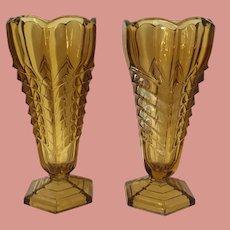 Art Deco Vase Pair Amber Glass