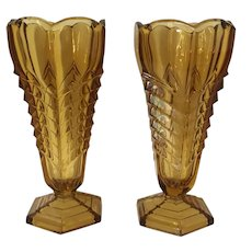 Art Deco Vase Pair Amber Glass