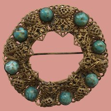 Victorian Brooch Filigree and African Turquoise