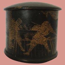 Antique Papier Mache (paper)  Black Lacquer Round Trinket Box with Golden Scenery