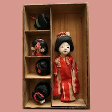 Antique Japanese Doll Gofun Wig Character