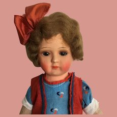 Closed Mouth Doll Sleepy Glass Eyes 12 inches