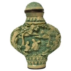 Chinese Snuff Bottle Green Carved