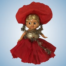 Celluloid Flapper Doll made by Palitoy in England Carnival Doll