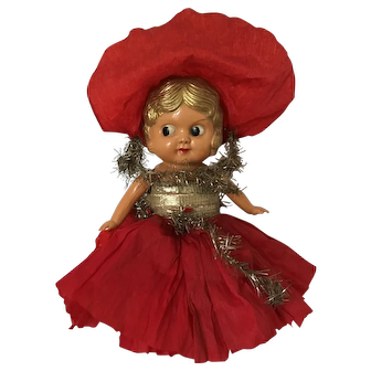 Vintage Kewpie Carnival Flapper Doll in orignal clothing made by Palitoy in England