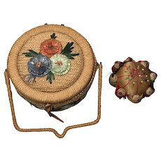 Chinese Sewing Basket with Pin Cushion