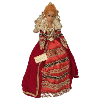 Barbie Clone Vintage Plastic Doll from 1970 Dressed as Queen Elizabeth I