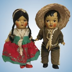 Two Composition Dolls Mexican Costume