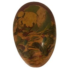 German Papier Mache Egg with Whimsical Lithograph