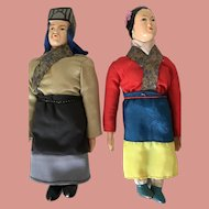 Vintage Asian Male and Female Hand Painted Composition Dolls, wedding gifts
