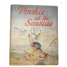 Vintage Childrens Book Pookie at the Seaside by Ivy Wallace 2nd Edition 1957