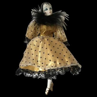 Vintage Pierrot clown deco flapper girl ornamental porcelain doll