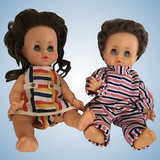 Two Unica Belgium Toddler Vintage Vinyl Dolls male and female 1950/1960