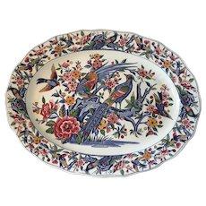 Large Platter Dish Transferware Pheasants, Pigeons and Flowers