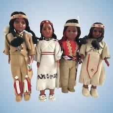 4 Vintage Celluloid Native American Dolls Carlson Interest