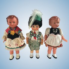 Vintage Celluloid Bavarian Dolls 3 dolls two dancing dolls