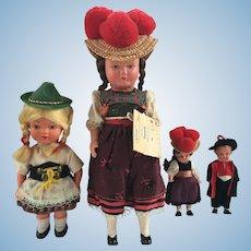 Vintage Celluloid Black Forest Bavarian Dolls