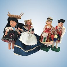 Vintage Celluloid Tourist Dolls Portuguese, Bavarian and French