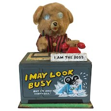 Vintage 1950s Nomura Telephone Bear Battery Operated Toy Made in Japan
