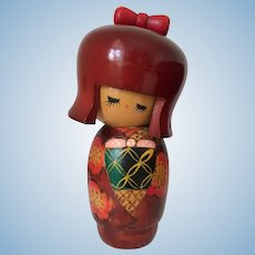 Vintage Japanese Kokeshi Doll approx 6 inches