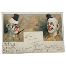 Christmas Postcard Clown Perriot Interest by Rahael Tuck