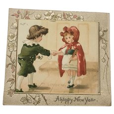 Victorian New Year Card Courting Boy and Girl Christmas Interest