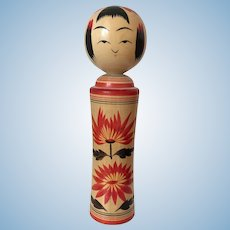 Vintage Japanese Kokeshi Doll approx 7 inches signed by the artist