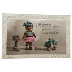 Vintage Black Kewpie Doll Birthday Postcard 1928