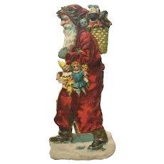 Victorian Santa Die Cut Scraps Red Hooded Black Doll Interest