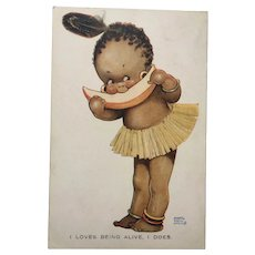 Mabel Lucie Attwell Postcard Black Doll Interest Signed Original