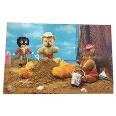 Vintage Teddy Bear and Black Doll Photograph Postcard England