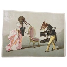Victorian Anthropomorphic Trade card Fox and Bird