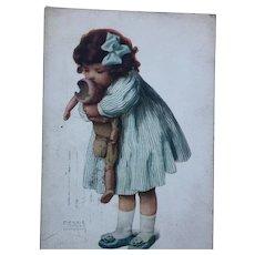 1907 Postcard Love is Blind Gutmann & Gutmann Broken Bisque Doll