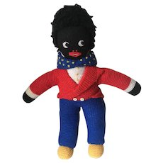 Vintage Knitted Golly Doll Black Rag Interest
